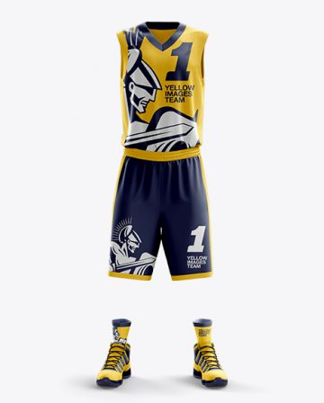 Basketball Kit w/ V-Neck Tank Top Mockup / Front View