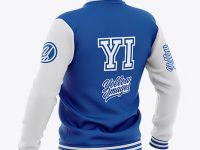 Men's Varsity Jacket Mockup - Back Half-Side View