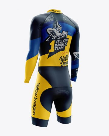 Men's Cycling Skinsuit LS mockup (Back Right Half Side View)
