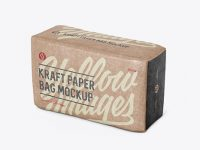 Kraft Paper Bag Mockup - Halfside View (High-Angle Shot)