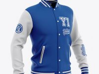 Men's Varsity Jacket Mockup - Front Half-Side View