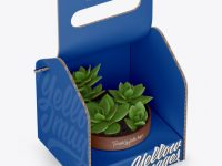 Box with Plant Mockup - Half Side View