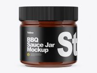 Clear Glass Jar w/ BBQ Sauce Mockup