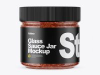 Clear Glass Jar w/ Sauce Mockup