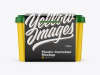 Glossy Plastic Container w/ Label Mockup - Front View