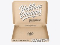 Opened Kraft Box Mockup - Front View (High-Angle Shot)