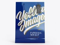 Glossy Paper Bag w/ Label Mockup - Front View