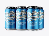Pack with 6 Matte Metallic Aluminium Cans with Plastic Holder Mockup