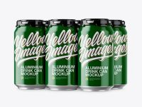 Pack with 6 Glossy Aluminium Cans with Plastic Holder Mockup