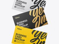 Three Textured Business Cards Mockup - Front View