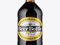 Amber Glass Bottle With Stout Beer Mockup