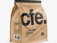 Kraft Paper Coffee Bag With Tin-Tie Mockup - Half Side View
