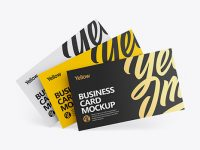Three Business Cards Mockup - Front View