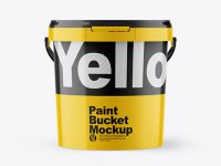 Glossy Paint Bucket Mockup - Front View
