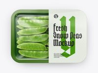 Plastic Tray With Snow Peas Mockup - Top View