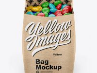 Kraft Bag With Candies Mockup - Front View (High-Angle Shot)
