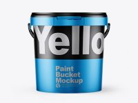 Matte Metallic Paint Bucket Mockup - Front View