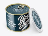 Glossy Tin Can with Transparent Cap Mockup - Front View (High Angle Shot)