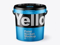 Matte Metallic Paint Bucket Mockup - Front View (High Angle Shot)