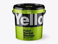 Metallic Paint Bucket Mockup - Front View (High Angle Shot)