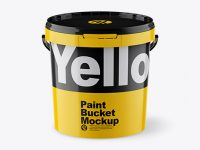 Glossy Paint Bucket Mockup - Front View (High Angle Shot)