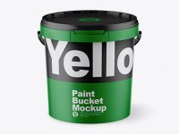 Matte Paint Bucket Mockup - Front View (High Angle Shot)
