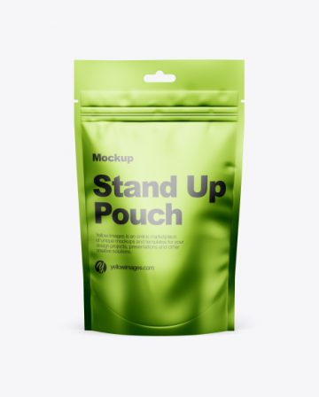 Metallic Stand-Up Pouch w/ Zipper Mockup - Front View
