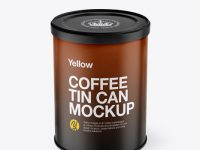 Coffee Tin Can Mockup - Front View (High-Angle Shot)