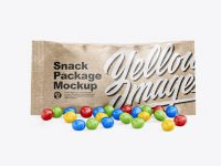 Kraft Snack Bag With Candies Mockup - Front View