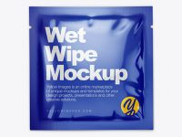 Glossy Wet Wipe Pack Mockup - Top View