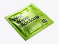 Metallic Wet Wipe Pack Mockup - Half Side View (High Angle Shot)