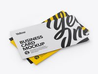 Three Business Cards Mockup - Half Side View