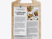 Wooden Clipboard With Papers Mockup - Front View