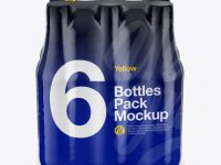 6 Bottles Pack Mockup - Front View (High-Angle Shot)