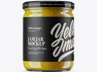 Clear Jar with Yellow Jam Mockup