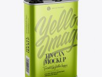 Metallic Tin Can Mockup - Half Side View