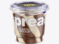 Clear Plastic Cup with Mixed Spread Mockup (High-Angle Shot)