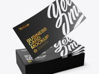 Stack of Business Cards Mockup - Half Side View (High-Angle Shot)