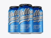 Pack with 3 Matte Metallic Cans with Plastic Holder Mockup - Front View
