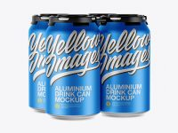 Pack with 4 Matte Metallic Cans with Plastic Holder Mockup - Half-Side View