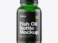 Green Glass Fish Oil Bottle Mockup