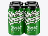Pack of 4 Glossy Cans with Plastic Holder Mockup - Front View (High Angle Shot)