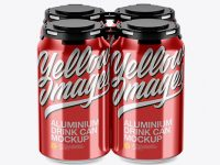 Pack of 4 Metallic Cans with Plastic Holder Mockup - Front View (High Angle Shot)