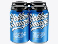 Pack of 4 Matte Metallic Cans with Plastic Holder Mockup - Front View (High Angle Shot)
