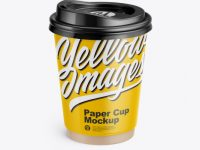 Glossy Paper Coffee Cup Mockup - Front View (High-Angle Shot)