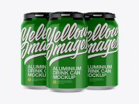 Pack of 3 Glossy Cans with Plastic Holder Mockup - Front View