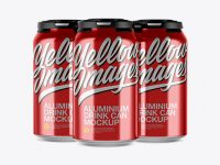 Pack of 3 Metallic Cans with Plastic Holder Mockup - Front View