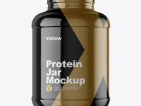 5lb Protein Jar in Glossy Shrink Sleeve Mockup