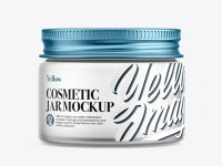 Frosted Glass Cosmetic Jar with Metallic Cap Mockup - Front View