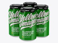 Pack of 4 Glossy Cans with Plastic Holder Mockup - Half Side View